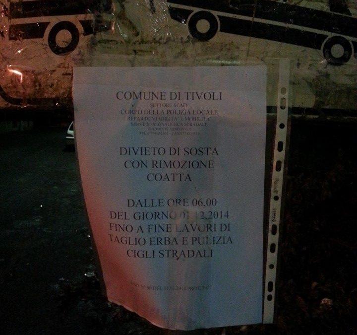 Pulizia Stradale a Villa Adriana Divieto di Sosta dal 01/12/2014