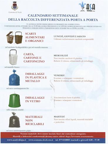 Calendario Raccolta Porta a Porta Tivoli Terme