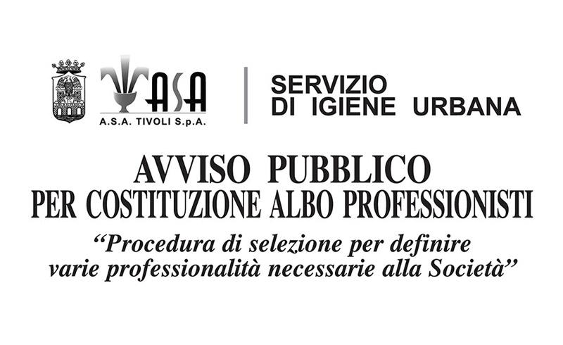 AVVISO PUBBLICO PER COSTITUZIONE ALBO PROFESSIONISTI