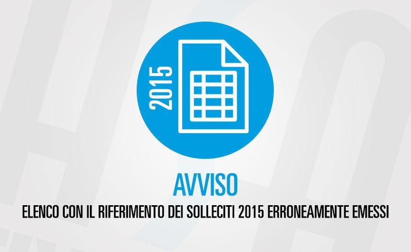 Elenco dei solleciti 2015 erroneamente emessi