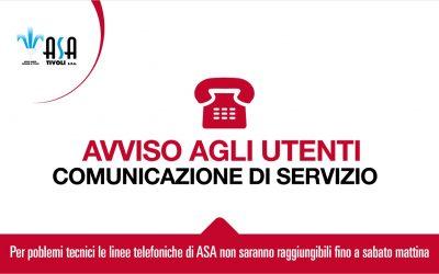 ASA – Comunicazione di servizio