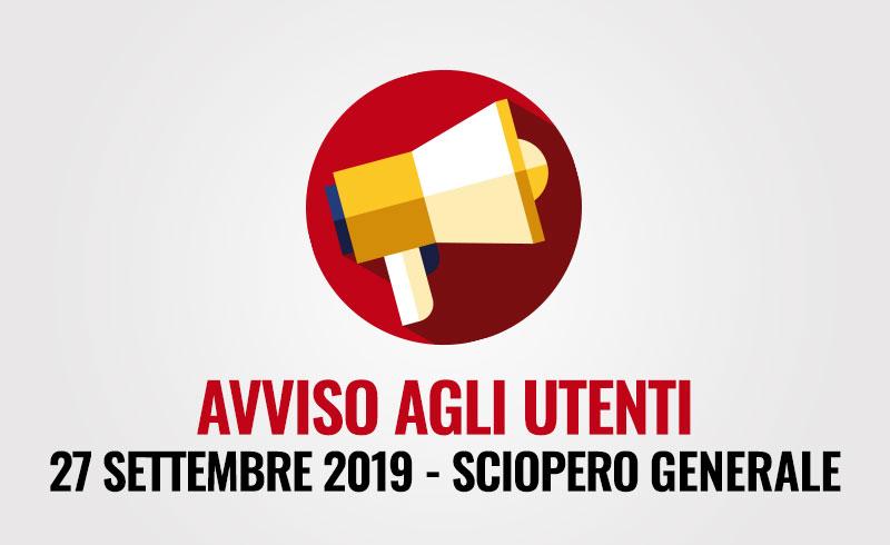 Avviso agli utenti – Sciopero generale 27 settembre