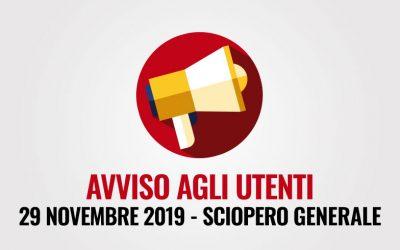 Avviso agli utenti – Sciopero generale 29 novembre