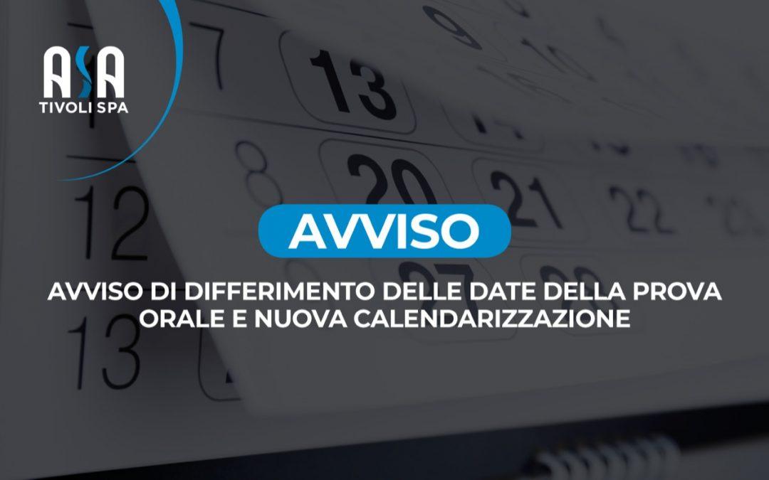 Avviso di differimento delle date della prova orale e nuova calendarizzazione