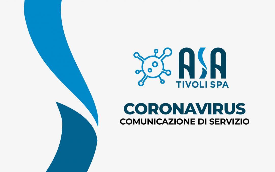 Coronavirus – Comunicazione di servizio
